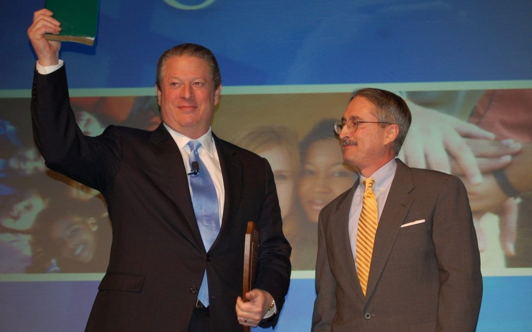 Robert Parham presenting The Green Bible to Al Gore