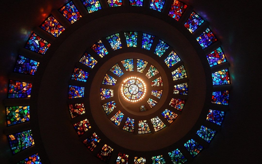 Stained glass windows in an ascending spiral