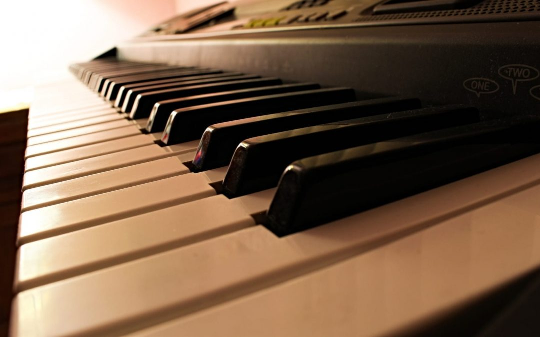 Piano keys viewed from the side