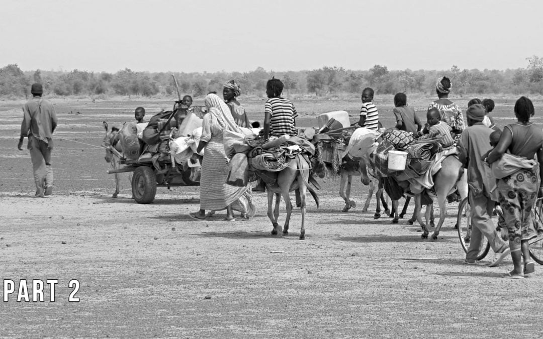 Refugees journeying through a desert area