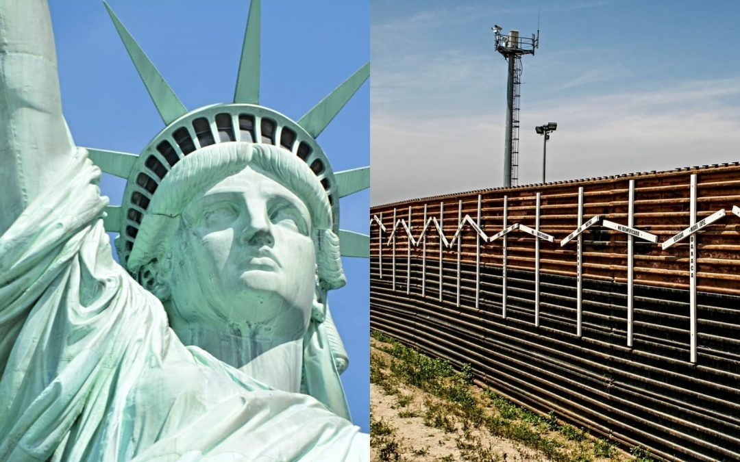 Images of the Statue of Liberty and a border wall set next to each other
