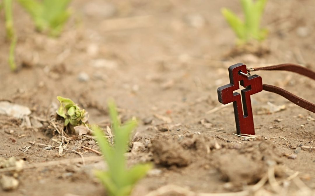 A small wooden cross planted in the dirst