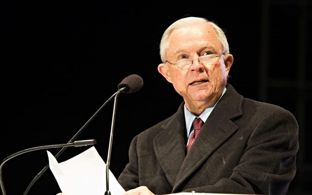 Jeff Sessions speaking at an event while serving as U.S. attorney general