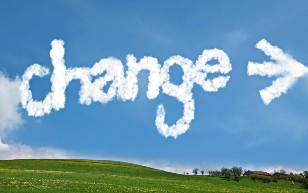 The word change spelled out in clouds in the sky