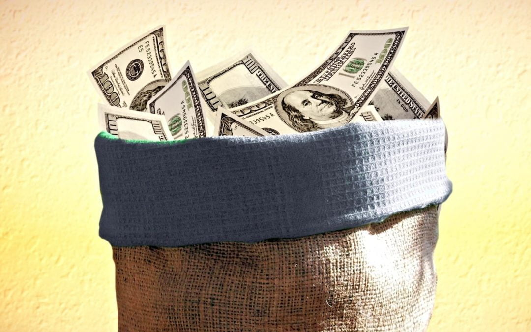 A burlap sack filled with $100 bills