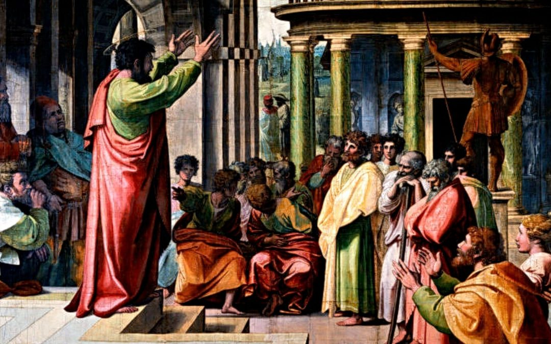 A painting of Paul speaking to philosphers in Athens, Greece