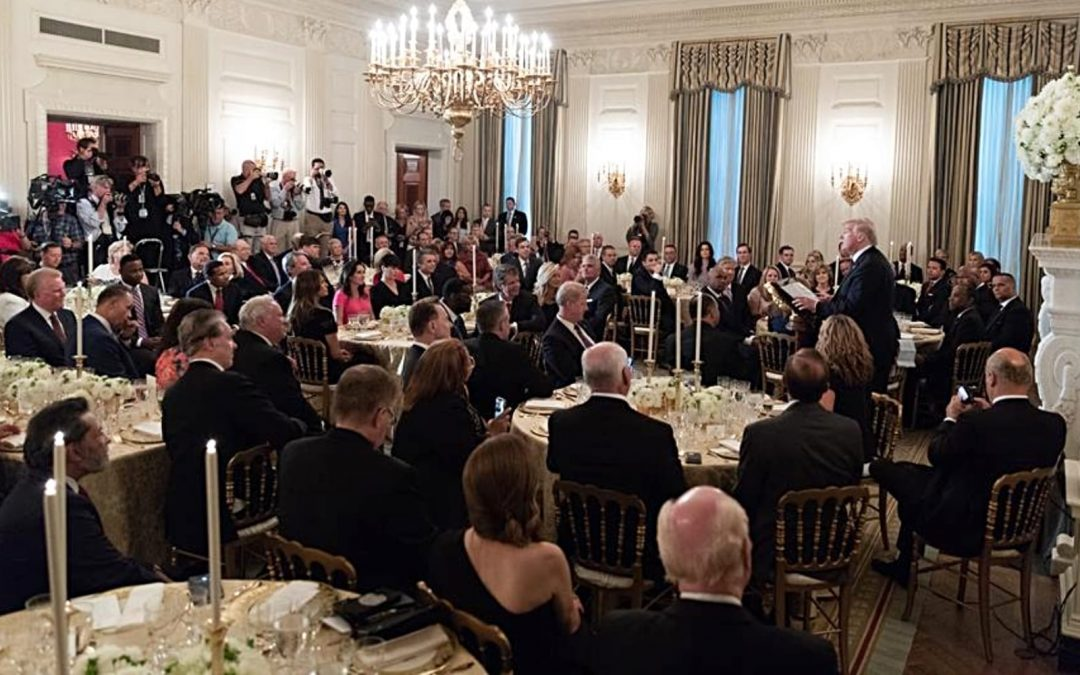 President Trump speaking to U.S. Evangelical leaders during a dinner at the White House