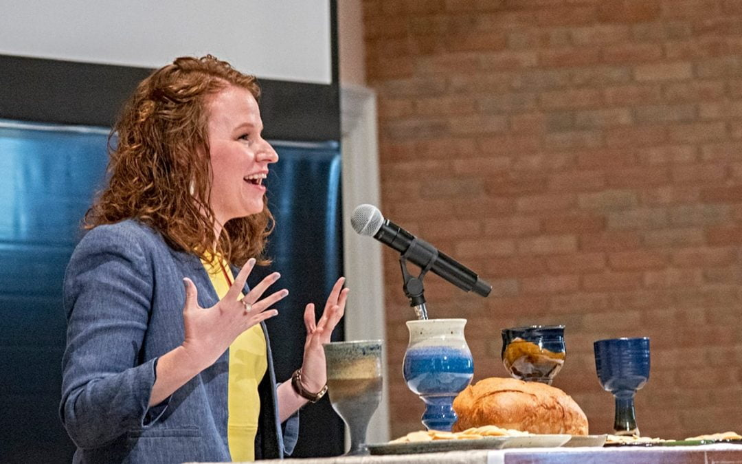 Mary Alice Birdwhistell speaking at a Baptist Women in Ministry event