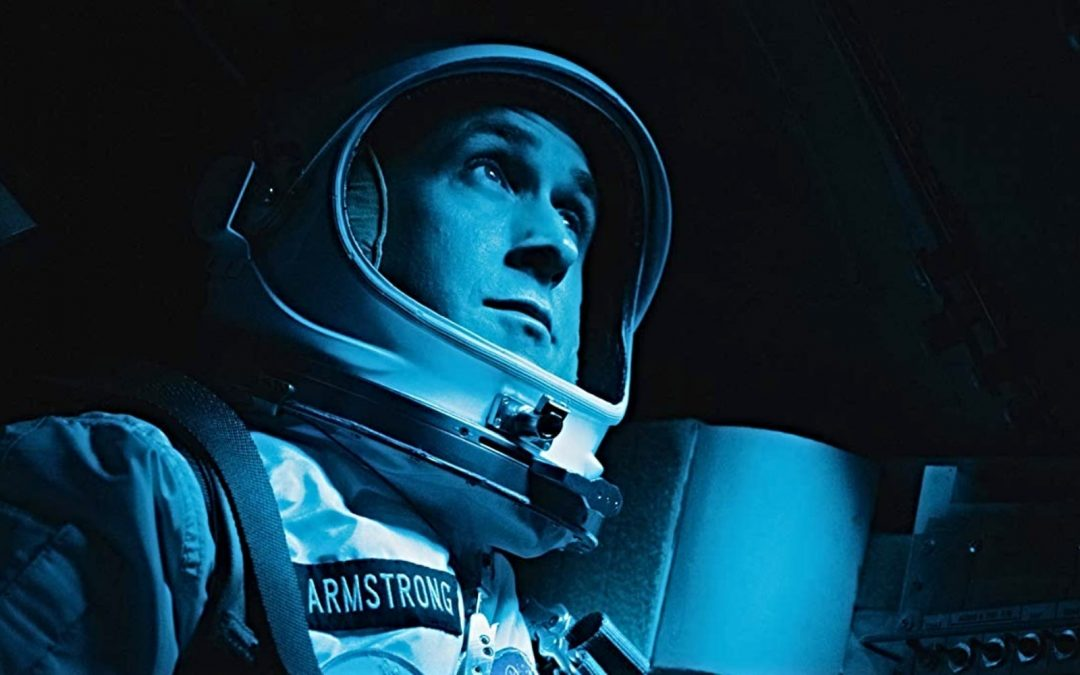 Ryan Gosling in a space suit in the movie First Man