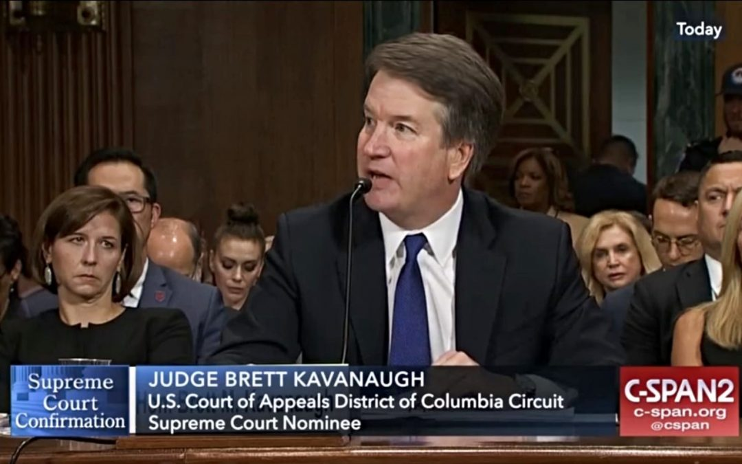 Brett Kavanaugh testifying during his Supreme Court nomination hearings