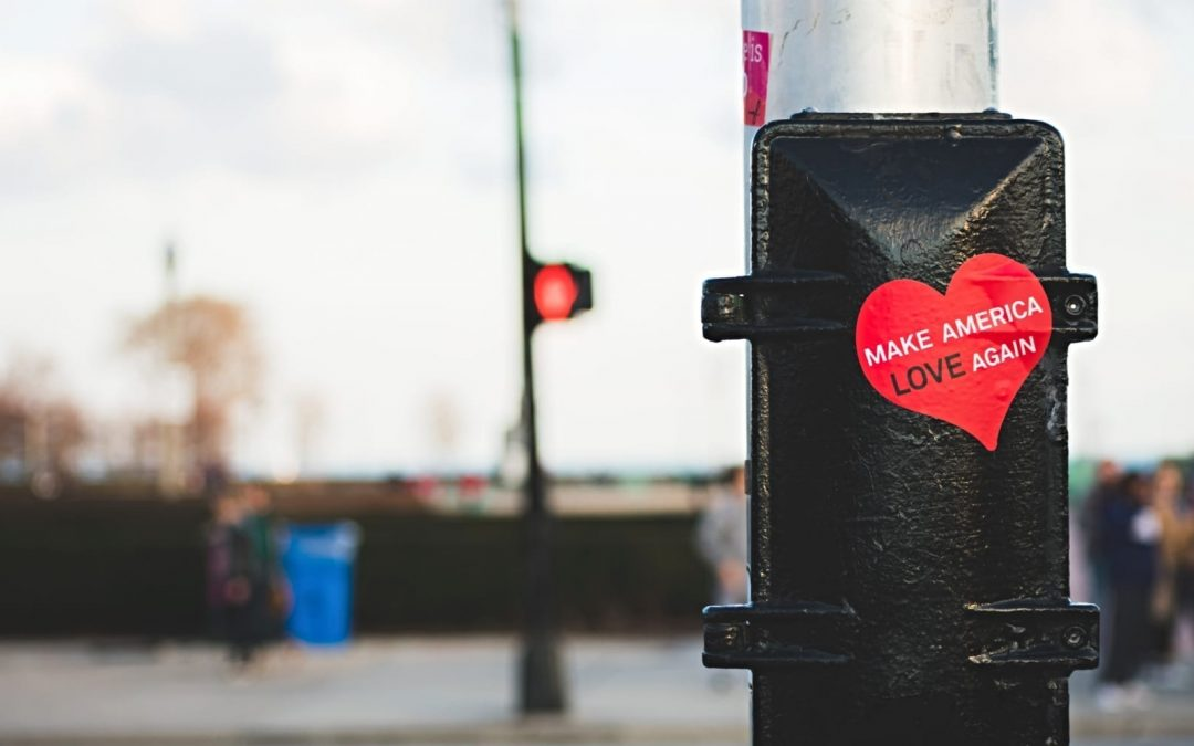 A sticker on street pole that says Make America Love Again