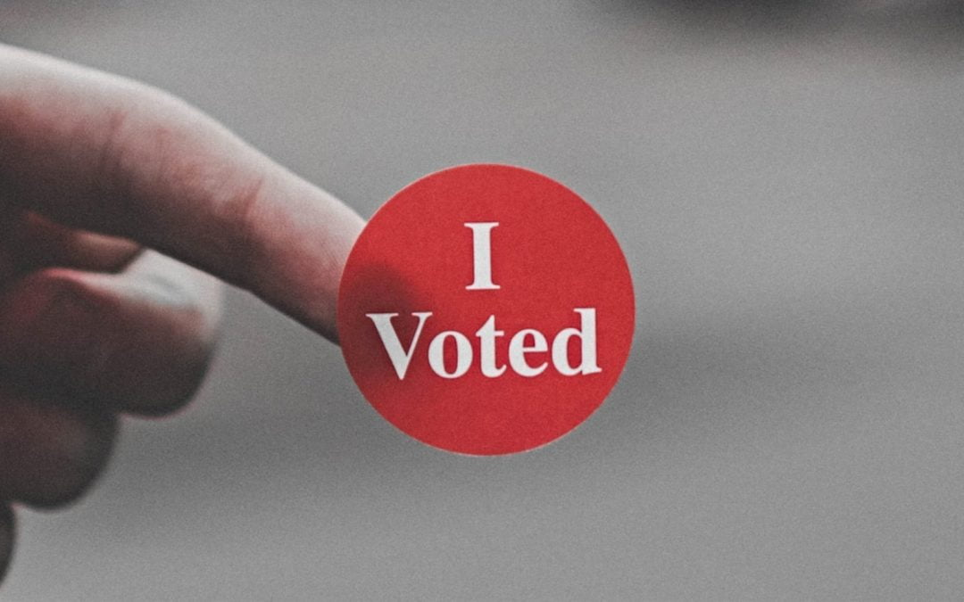 A red I Voted sticker