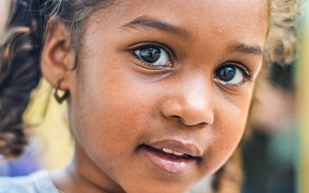 A close up of a young girl