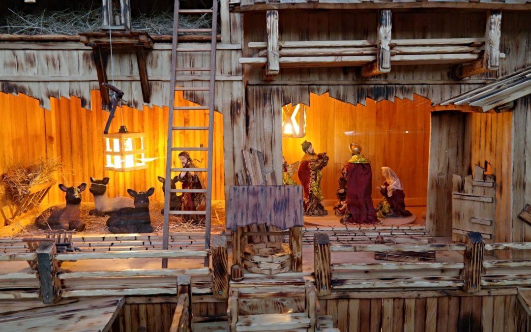 A wooden nativity scene