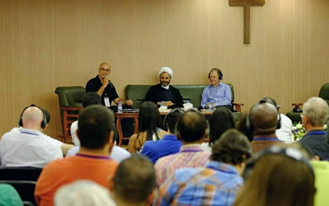 Martin Accad, Fouad Khreis and Tim Green at an interfaith gathering