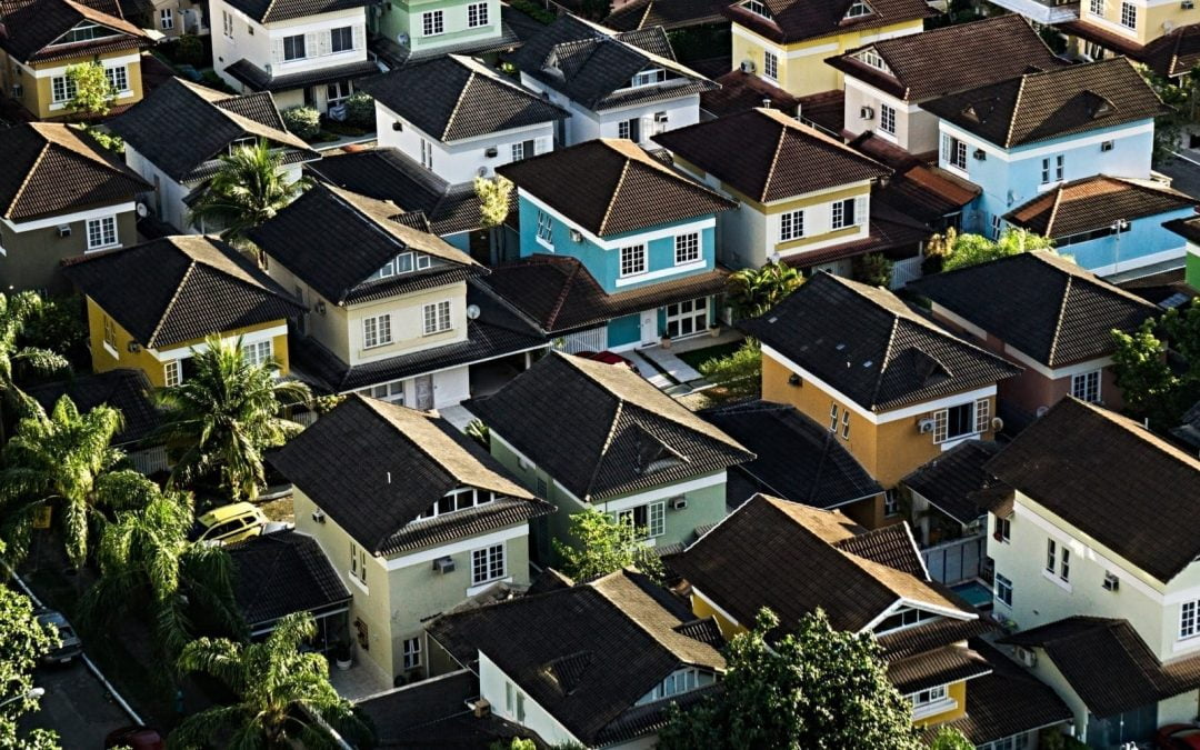 Rooftops of houses seen from above