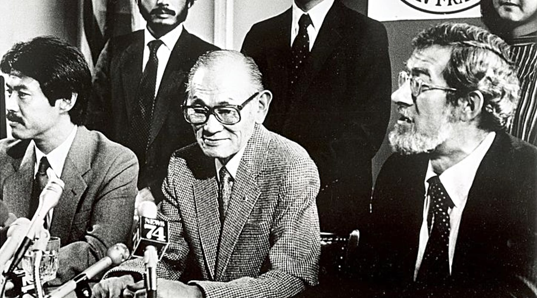Fred Korematsu and others at a press conference
