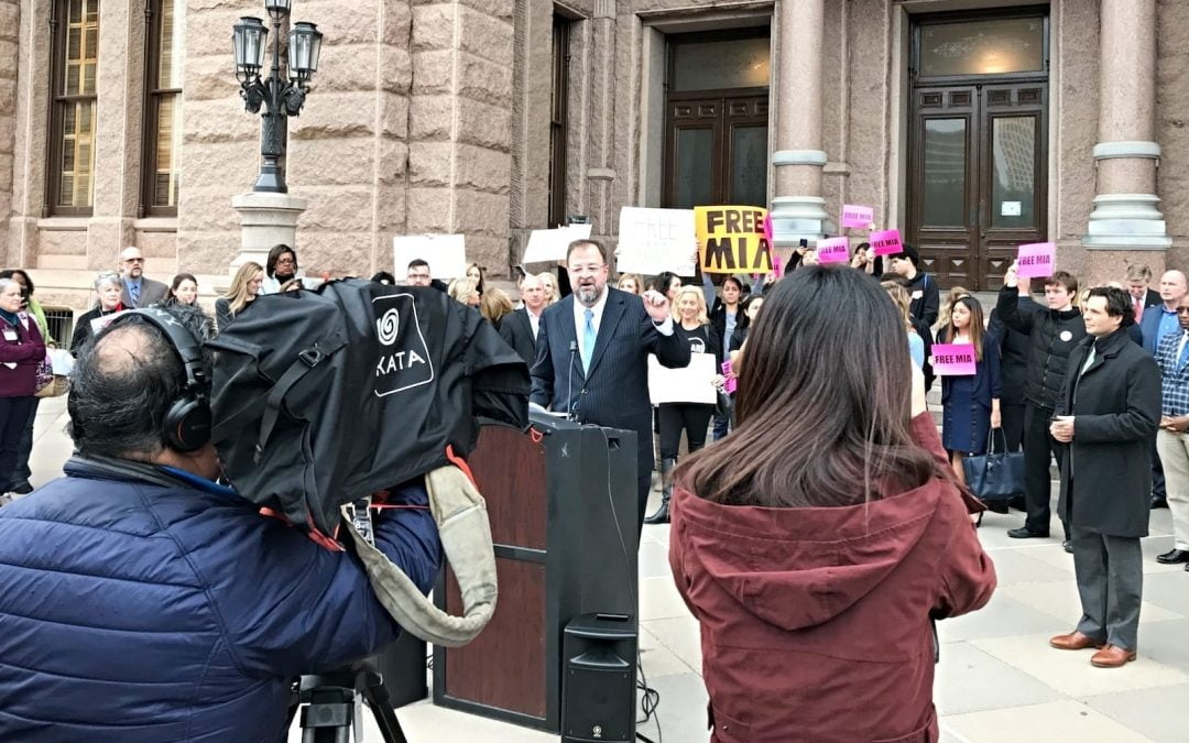 Bob Sandorn of Children at Risk speaking at an anti-trafficking rally at the Texas Capitol