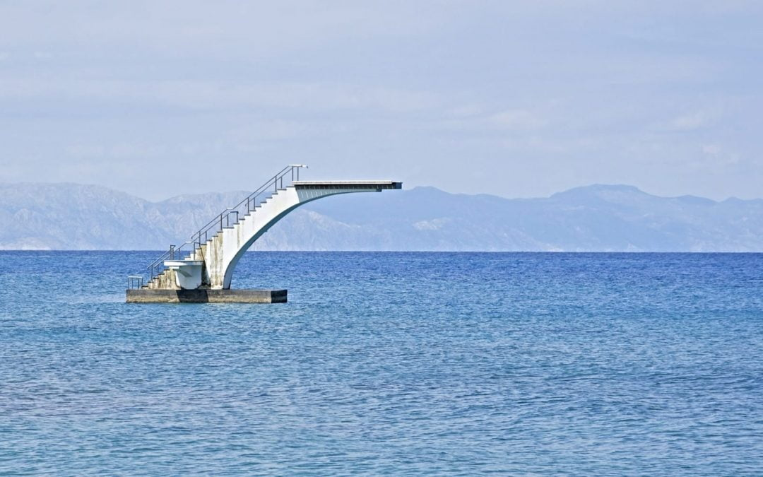 A diving platform in the middle of the ocean