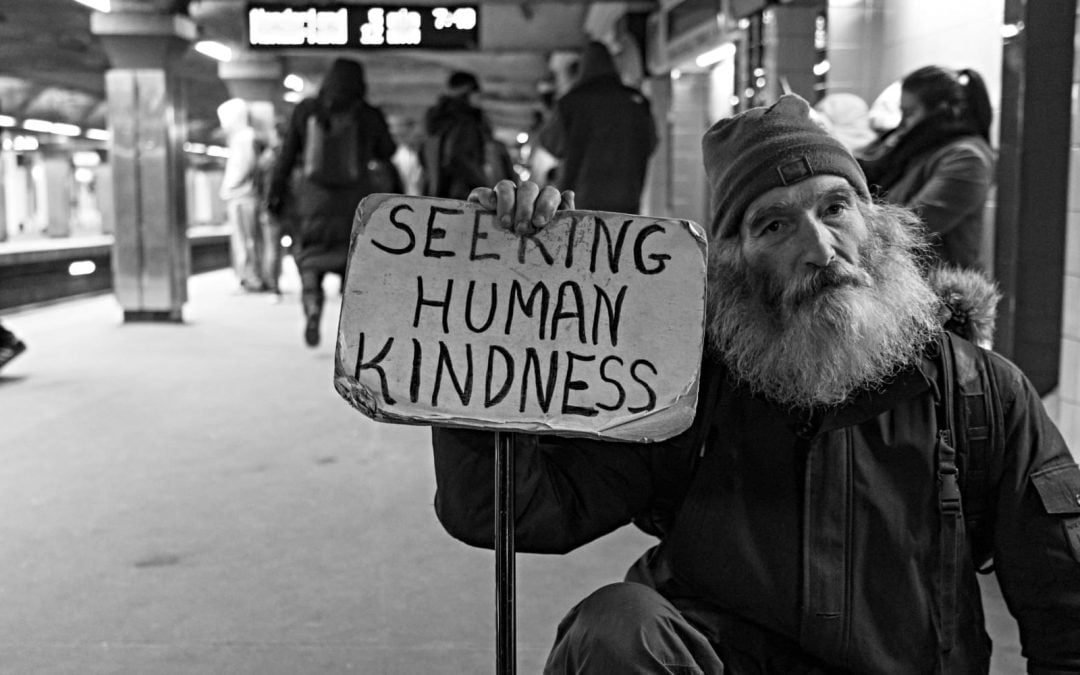 An older man with a heavy beard holding a signs that says seeking human kindness