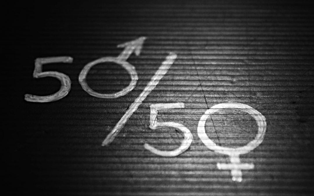 A gender equality sign saying 50 50 with the gender signs on the 0s