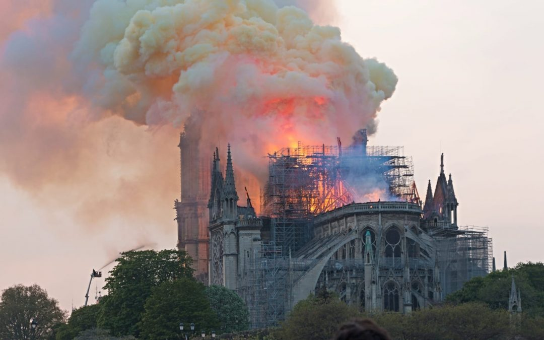 Notre Dame Cathedral on fire in 2019