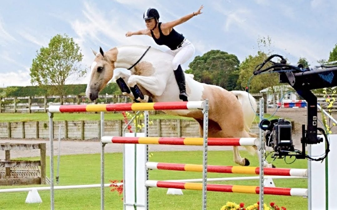 Horse and rider jumping over a hurdle
