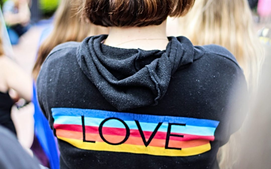Back of hoodie with the word 'love' written over rainbow stripes