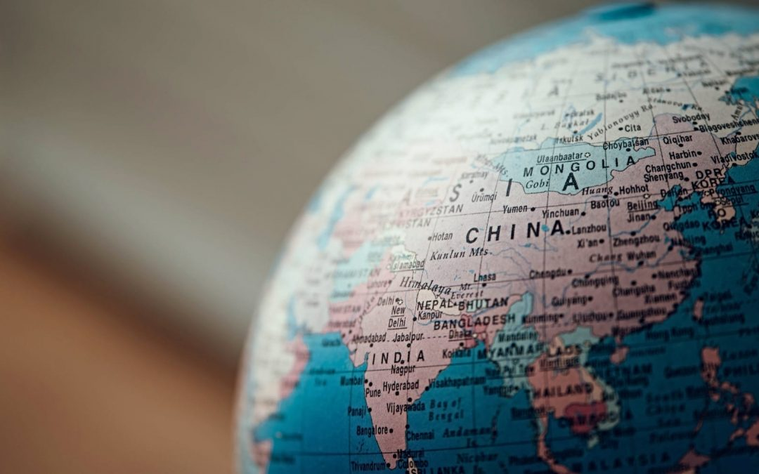 Globe turned toward country of China