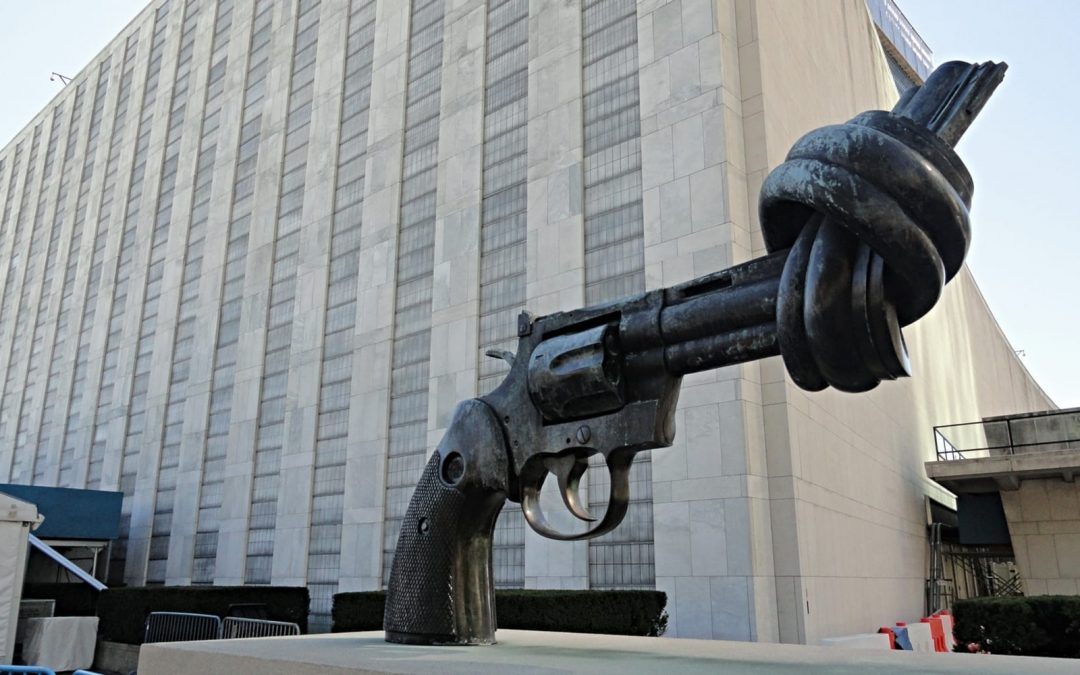 Knotted gun sculpture in New York City