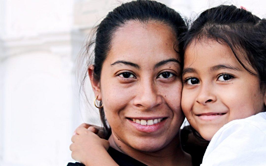Hispanic mom and daughter
