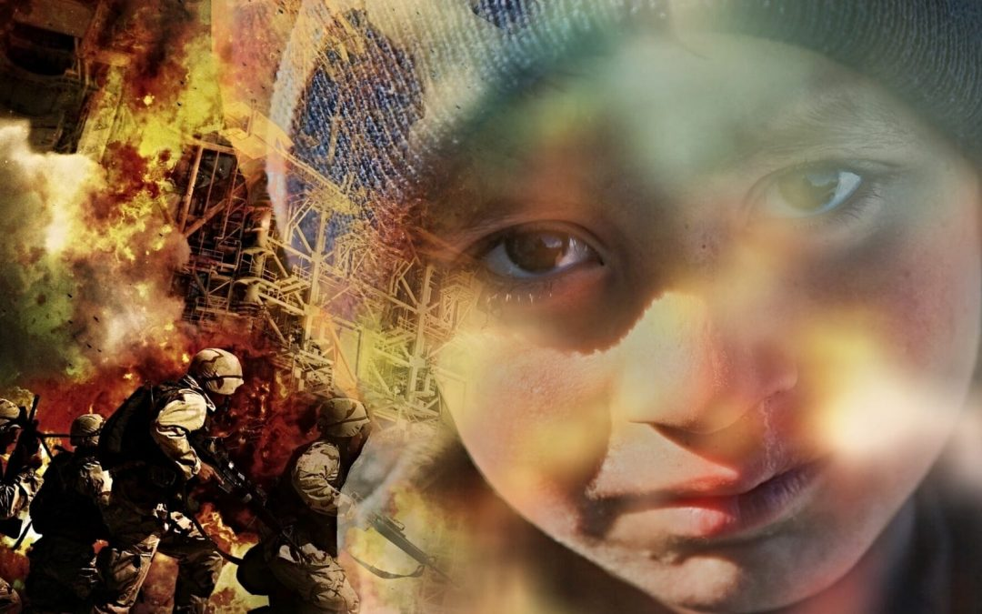 Image of child refugee superimposed over war conflict