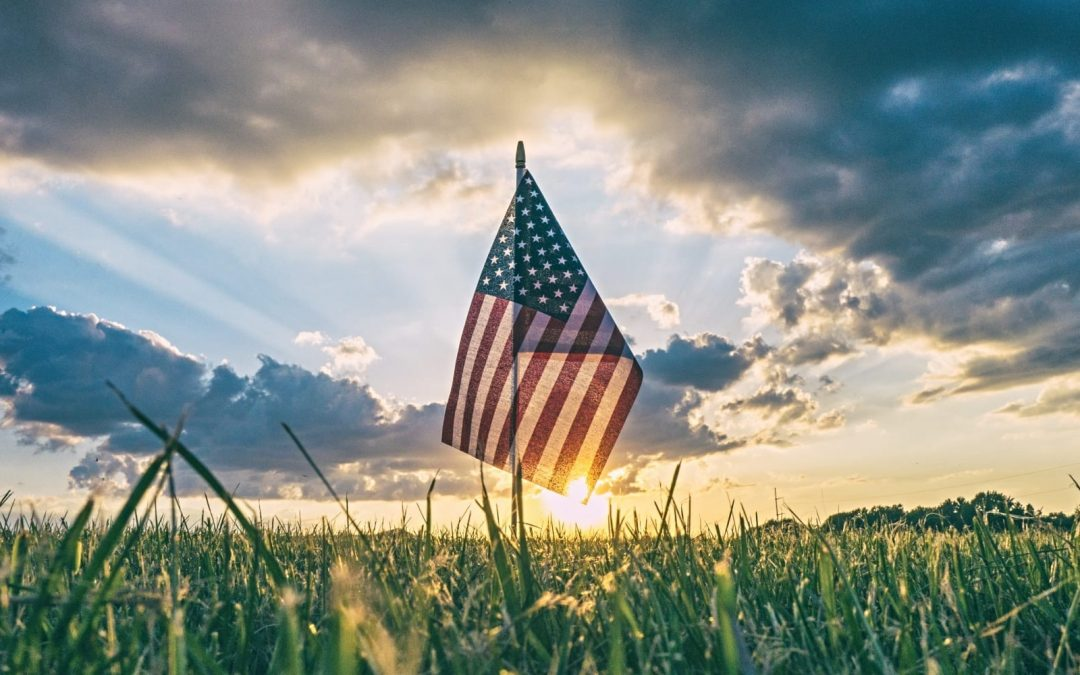 U.S. flag standing in field at sunrise