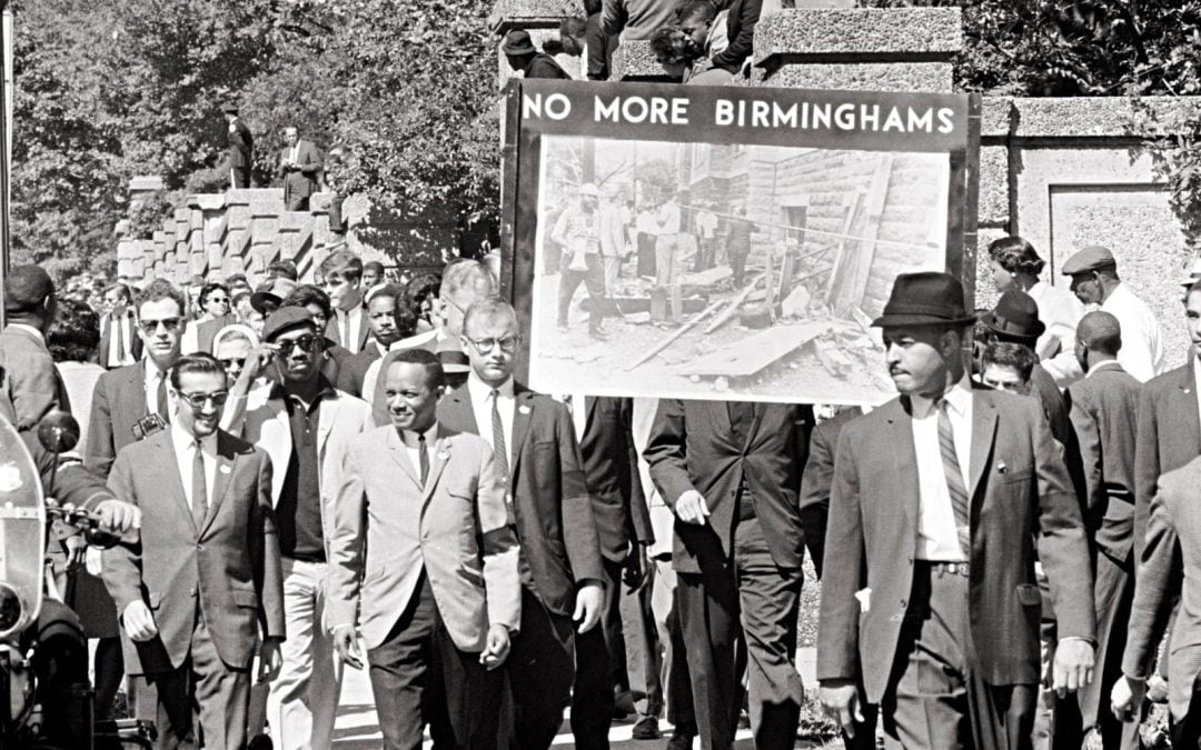 Marchers in 1963 in protest of Baptist church bombing