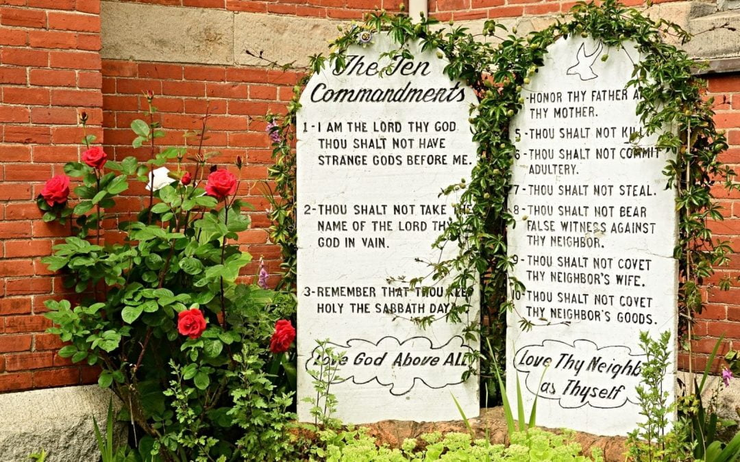Ten Commandments tablets covered with vines