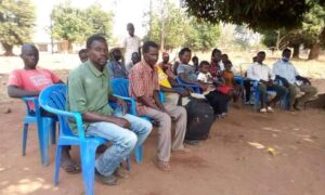 A outdoor church gathering in Western Equatoria, South Sudan.
