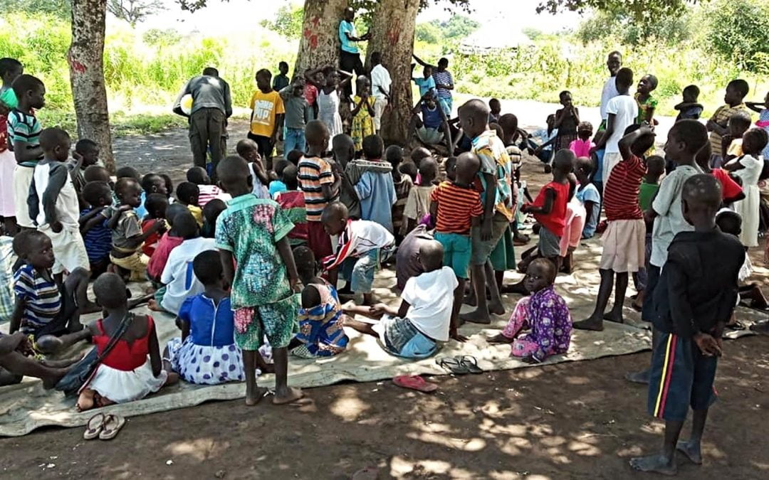 South Sudanese children in Uganda refugee camp