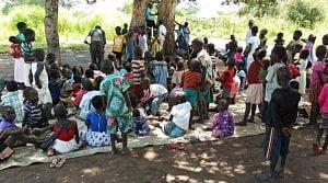 South Sudanese children in Uganda refugee camp