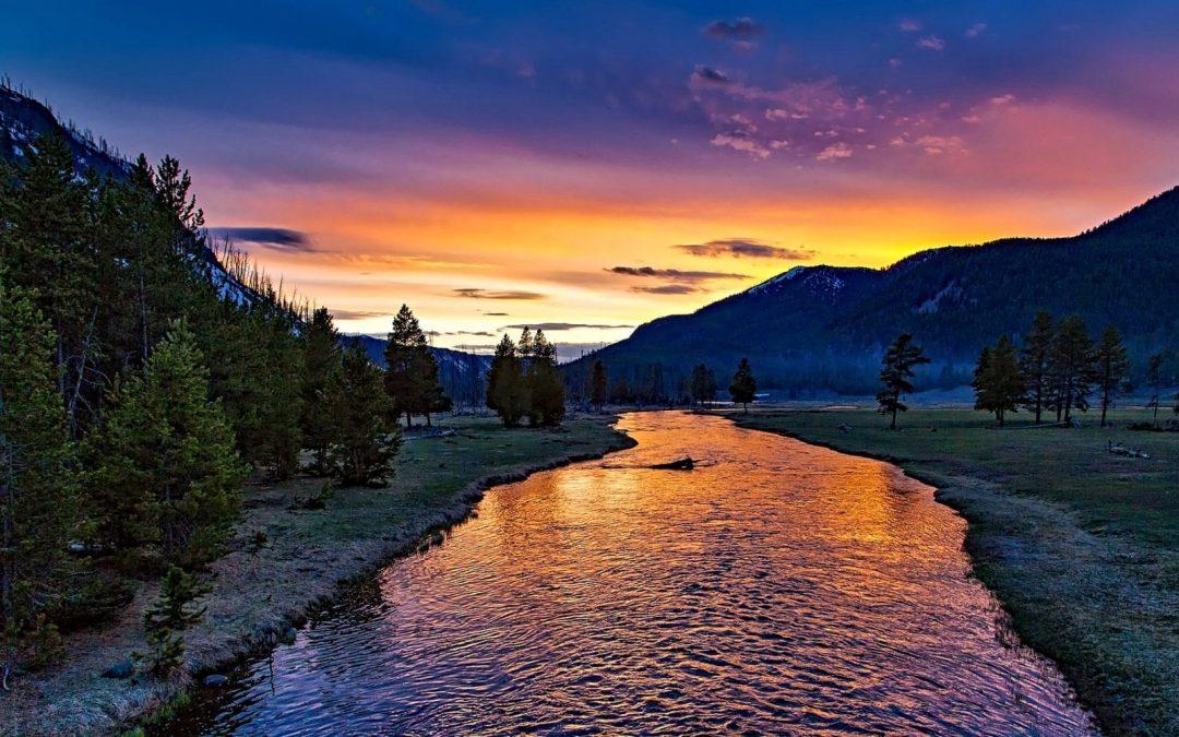 Yellowstone National Park at twilight