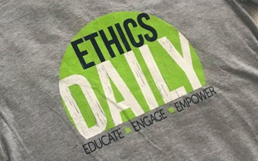 Close-up of EthicsDaily logo on T-shirt