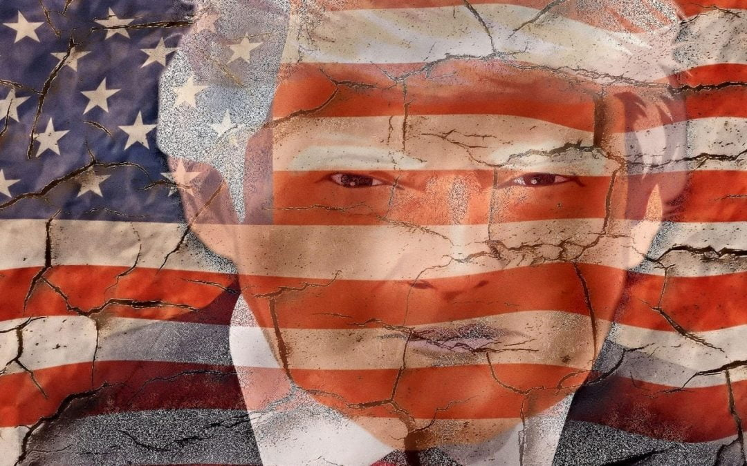 Drawing of President Trump superimposed over crumbling flag