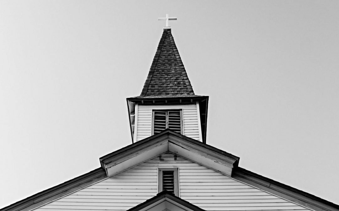 Exterior shot of church roof with steeple