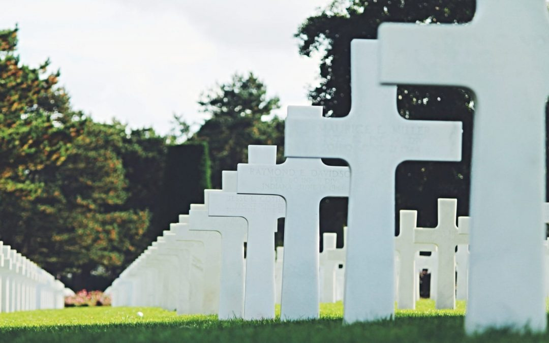 Rows of white crosses in cemetery