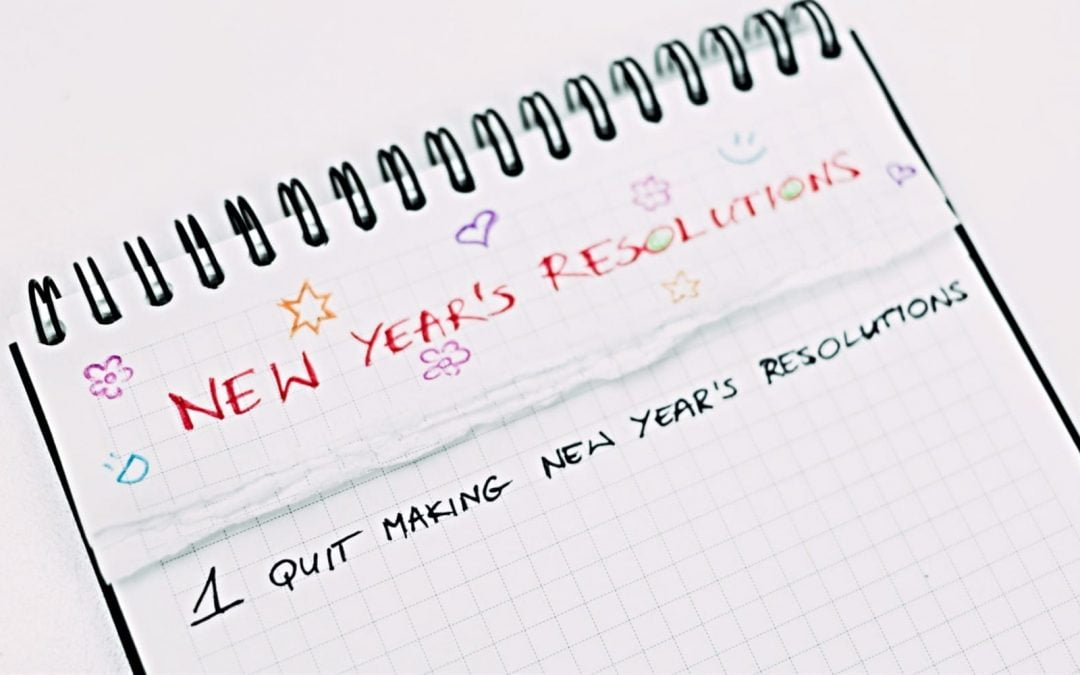 Notebook with New Year resolution list