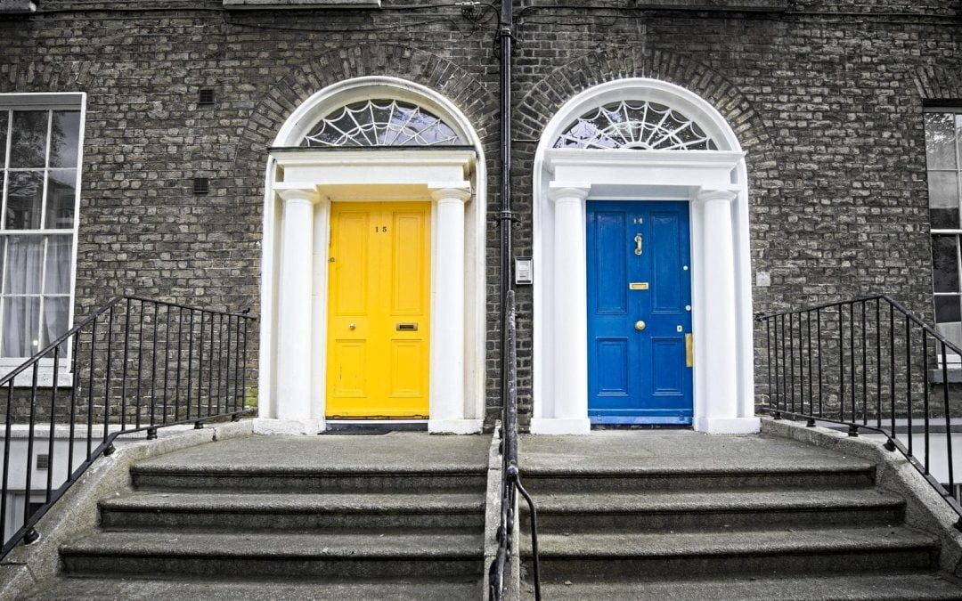 Two doors, one yellow one blue