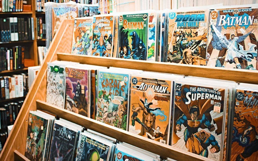 Comic books on shelves