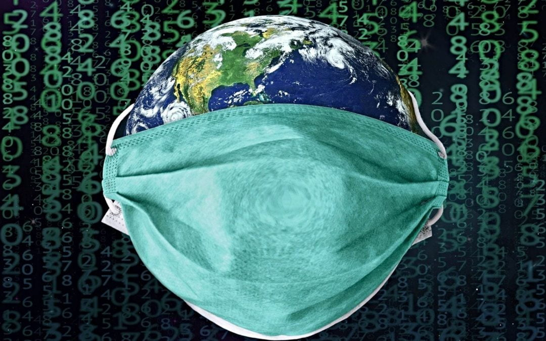 Earth wearing a surgical mask