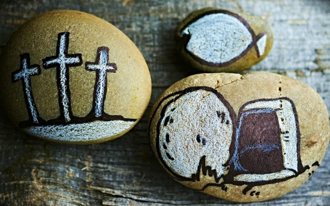 Stones with empty tomb, crosses painted on them