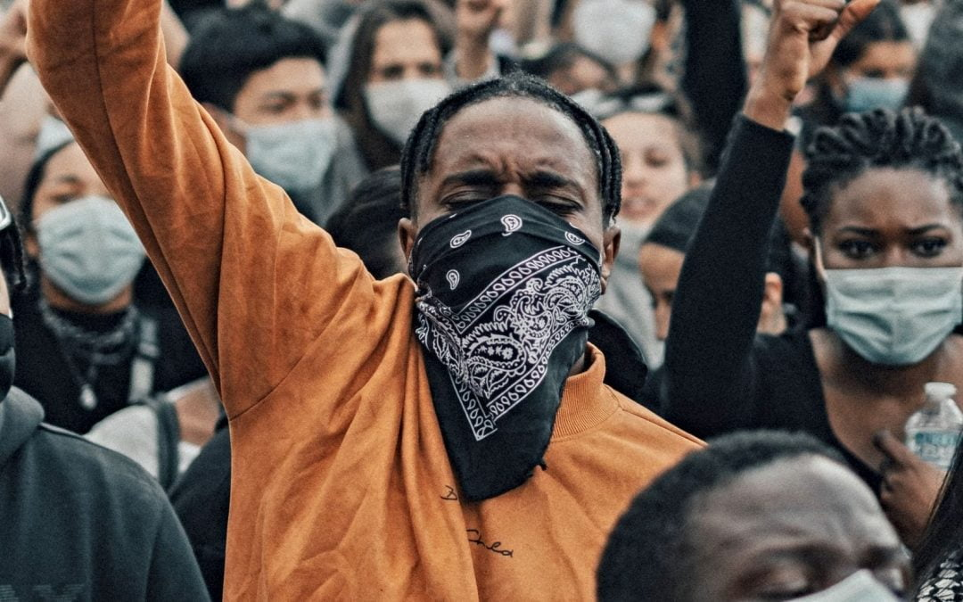 Black protester with fist raised