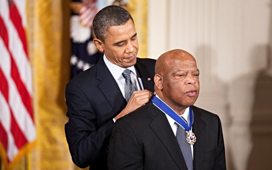 Barack Obama and John Lewis receiving Presidential Medal of Freedom
